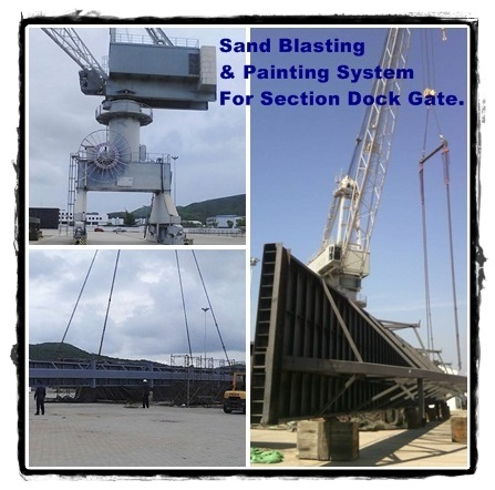Sand Blasting and Painting System for Section Dock Gate