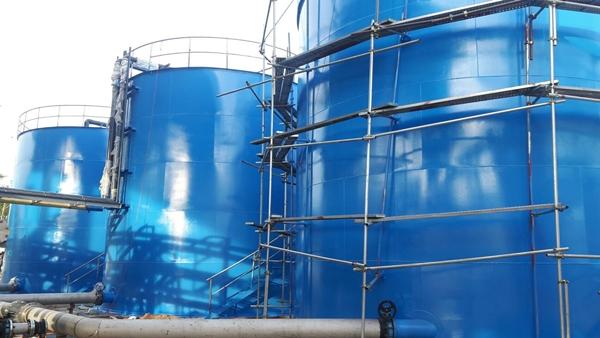 พ่นทรายทำสีถังสต็อกน้ำดีมีน Power Plant
