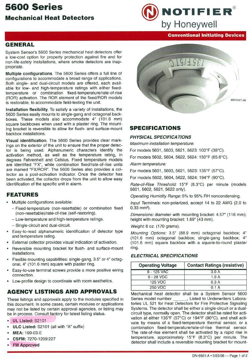 เครื่องตรวจจับความร้อน Notifier 5600
