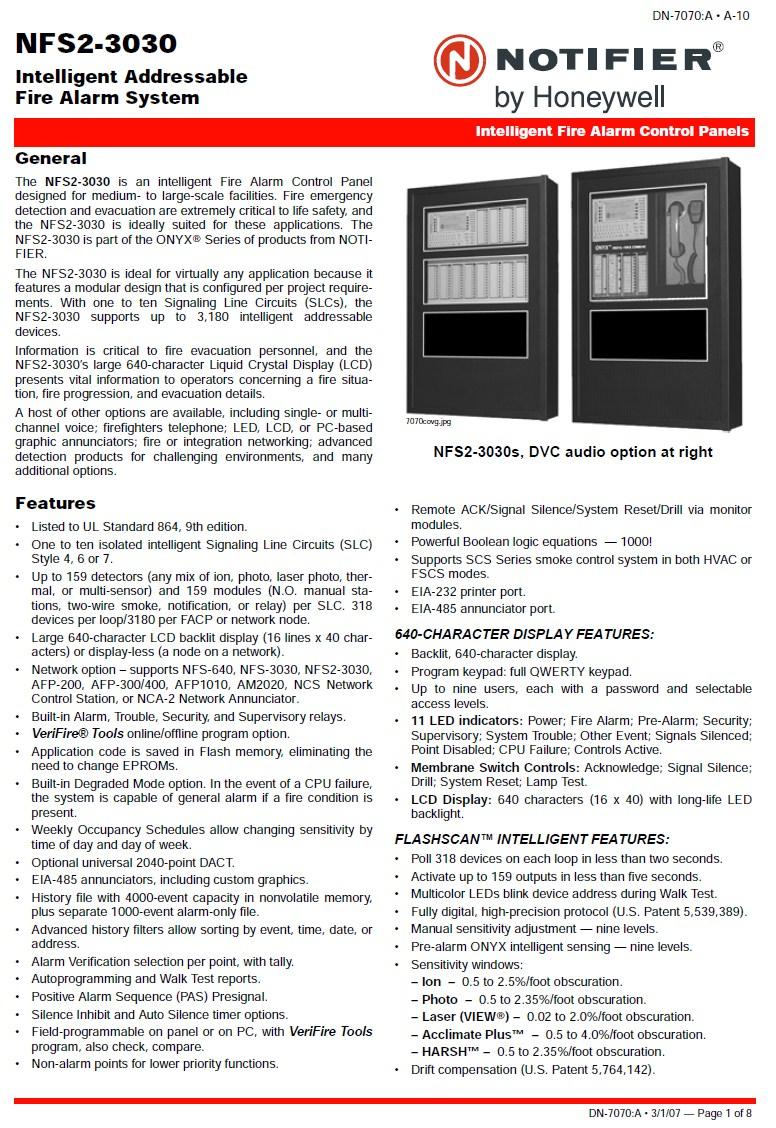 ระบบแจ้งเพลิงไหม้ Notifier NFS2-3030