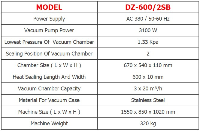 เครื่องซีลสูญญากาศแบบฝาสวิง DZ-600/2SB