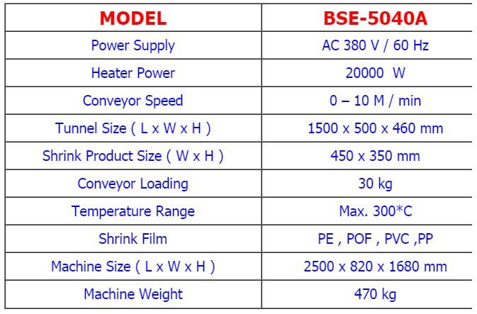 เครื่องแพ็คโหล BSE5040A