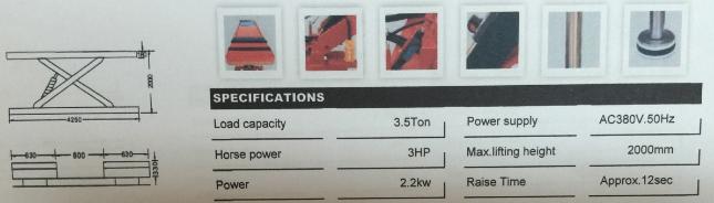 ลิฟท์กรรไกรแบบฝังพื้น รุ่น 3.5T
