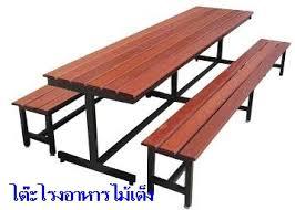 โต๊ะโรงอาหารไม้เต็ง เหล็ก 1x1.3 นิ้ว
