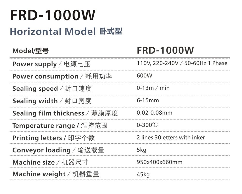 เครื่องซีลต่อเนื่อง รุ่น FRD-1000W