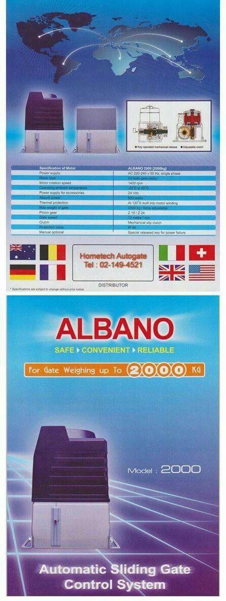 มอเตอร์ประตูรั้วรีโมทบานเลื่อน Albano รุ่น 2000 Kg