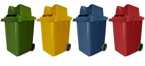 ถังขยะใหญ่พร้อมล้อเข็น 190 ลิตร ฝา 2 ช่องทิ้ง