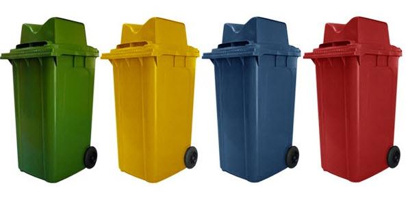 ถังขยะใหญ่พร้อมล้อเข็น 240 ลิตร ฝา 2 ช่องทิ้ง