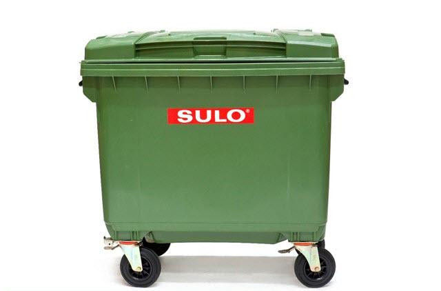 ถังขยะพร้อมล้อเข็น 660 ลิตร ฝาเรียบ