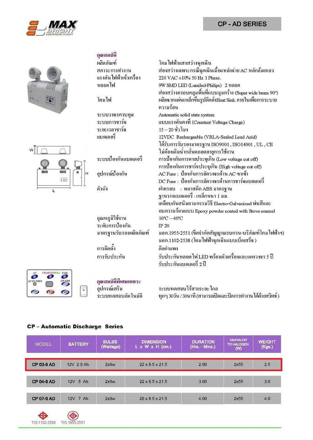 ไฟฉุกเฉิน MAX BRIGHT รุ่น CP 03-9 AD