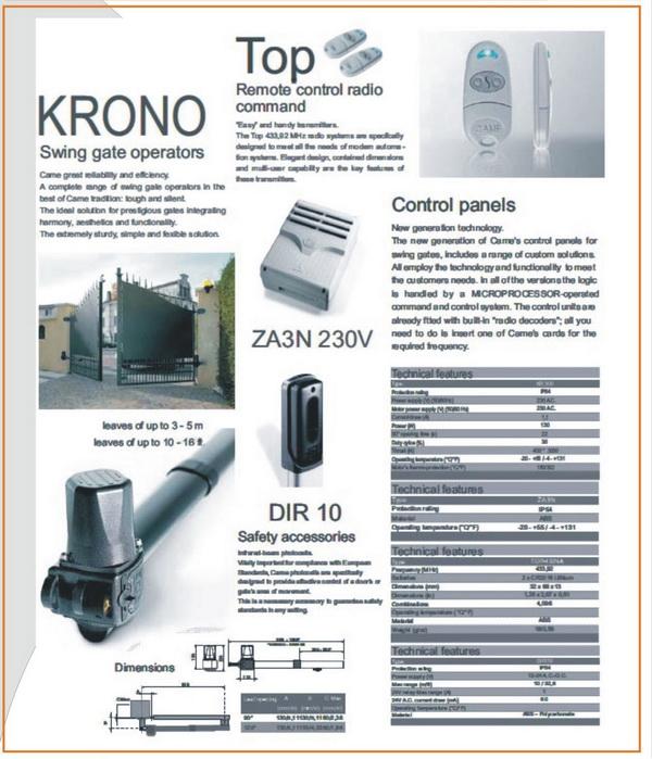มอเตอร์ประตูบานสวิง รุ่น KRONO