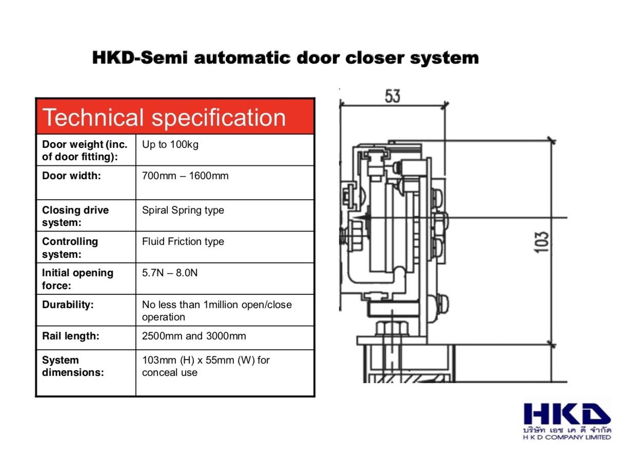 ประตูบานเบื่อนกึ่งอัตโนมัติ รุ่น HKD-GSC100