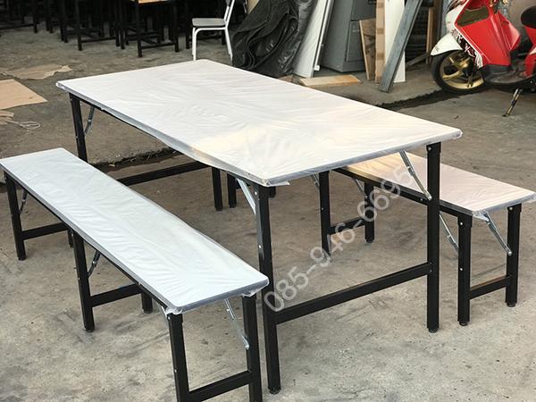 โต๊ะโรงอาหารแบบขาพับได้ เหล็ก 1/4x1, นิ้ว 1/4นิ้ว