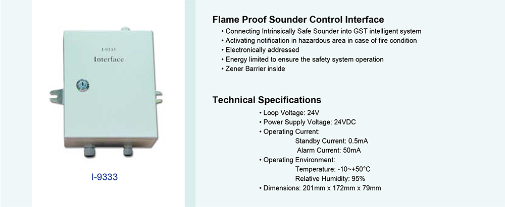 Flame Proof Sounder Control Interface รุ่น I-9333