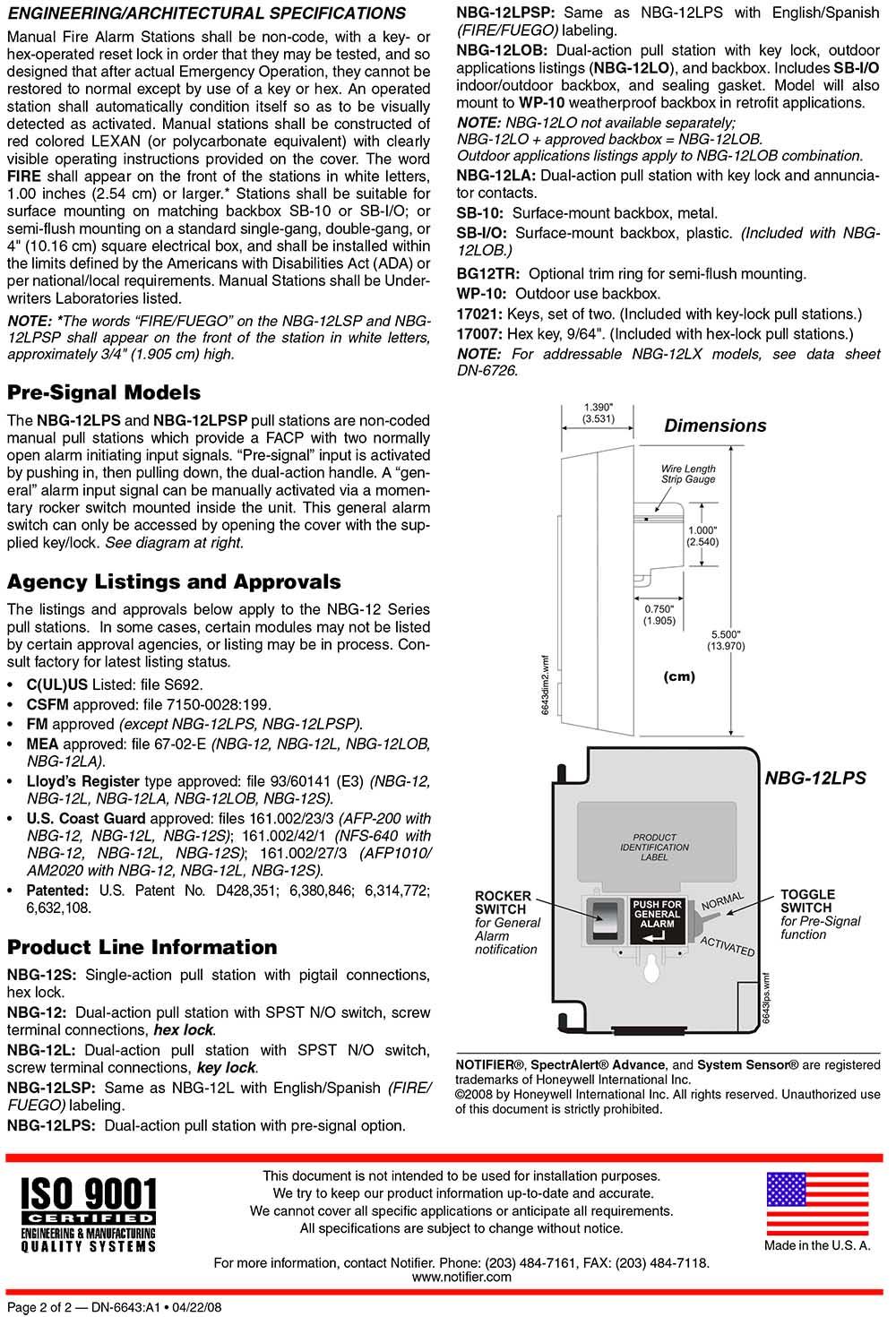 สัญญาณเตือนภัยดึงมือ รุ่น NBG-12S Manual pull