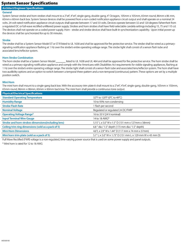 สัญญาณเตือน รุ่น SystemSensor SYS-ST