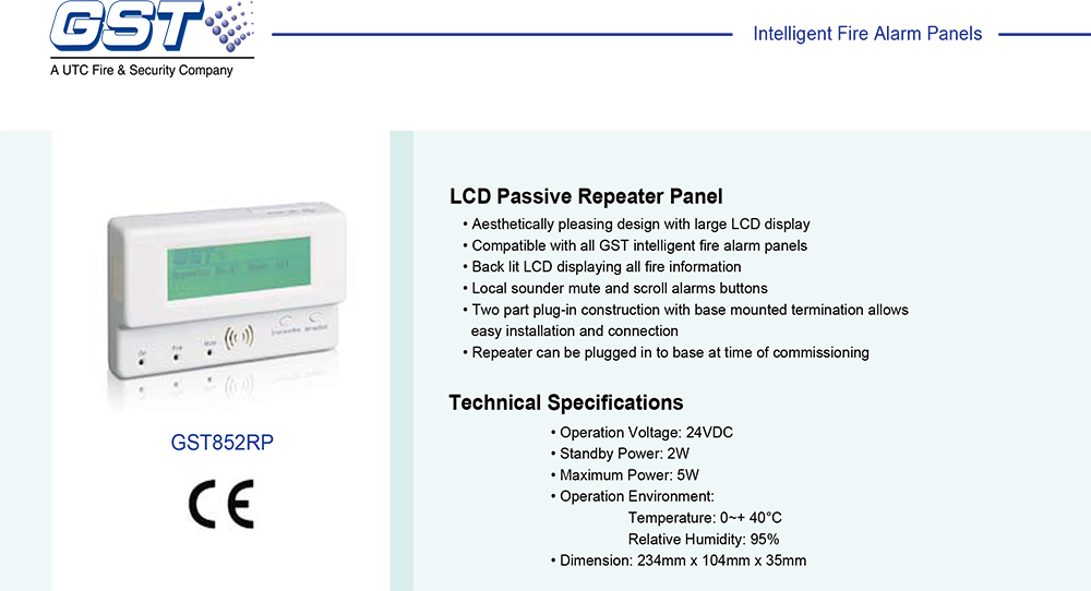 LCD Passive Repeater Panel รุ่น GST852RP