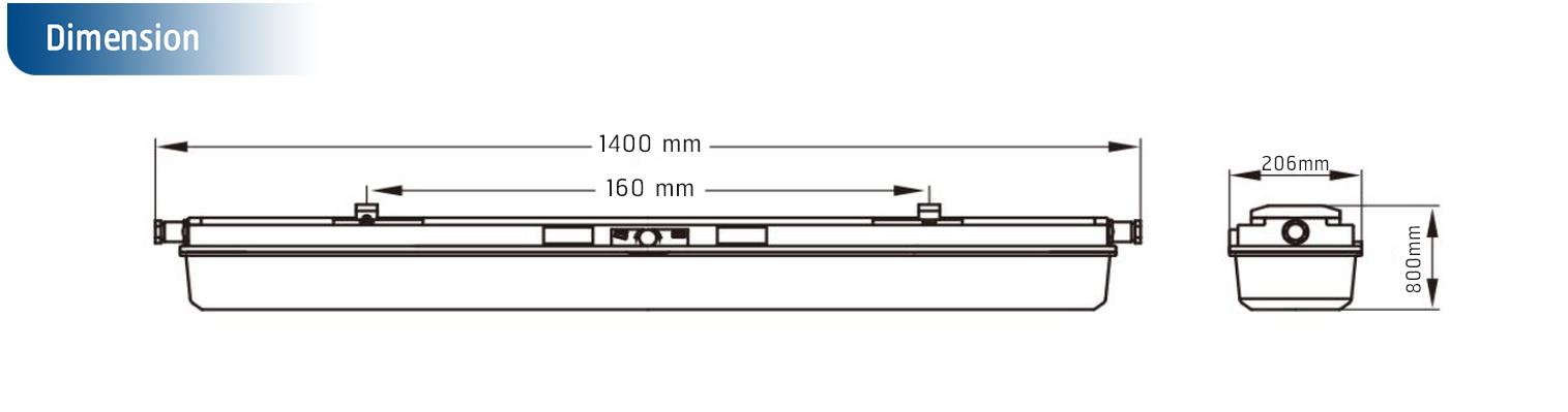 โคมไฟกันระเบิด LED รุ่น SL BYS ขนาด 2xT8 18W