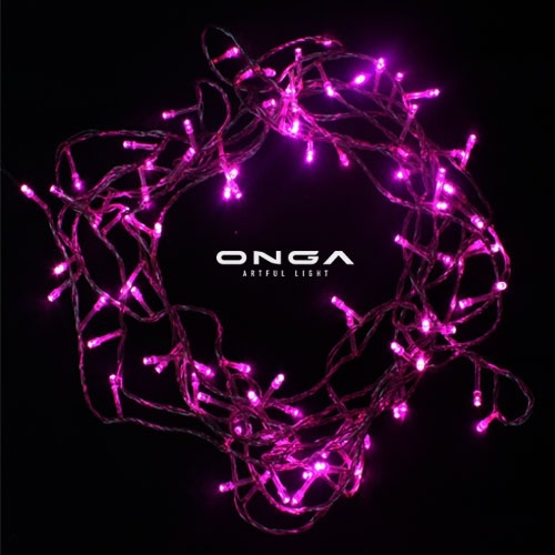 ไฟหยดน้ำ LED: แสง Pink, 100 led, ยาว 8 เมตร, ปรับได้ 8 จังหวะ