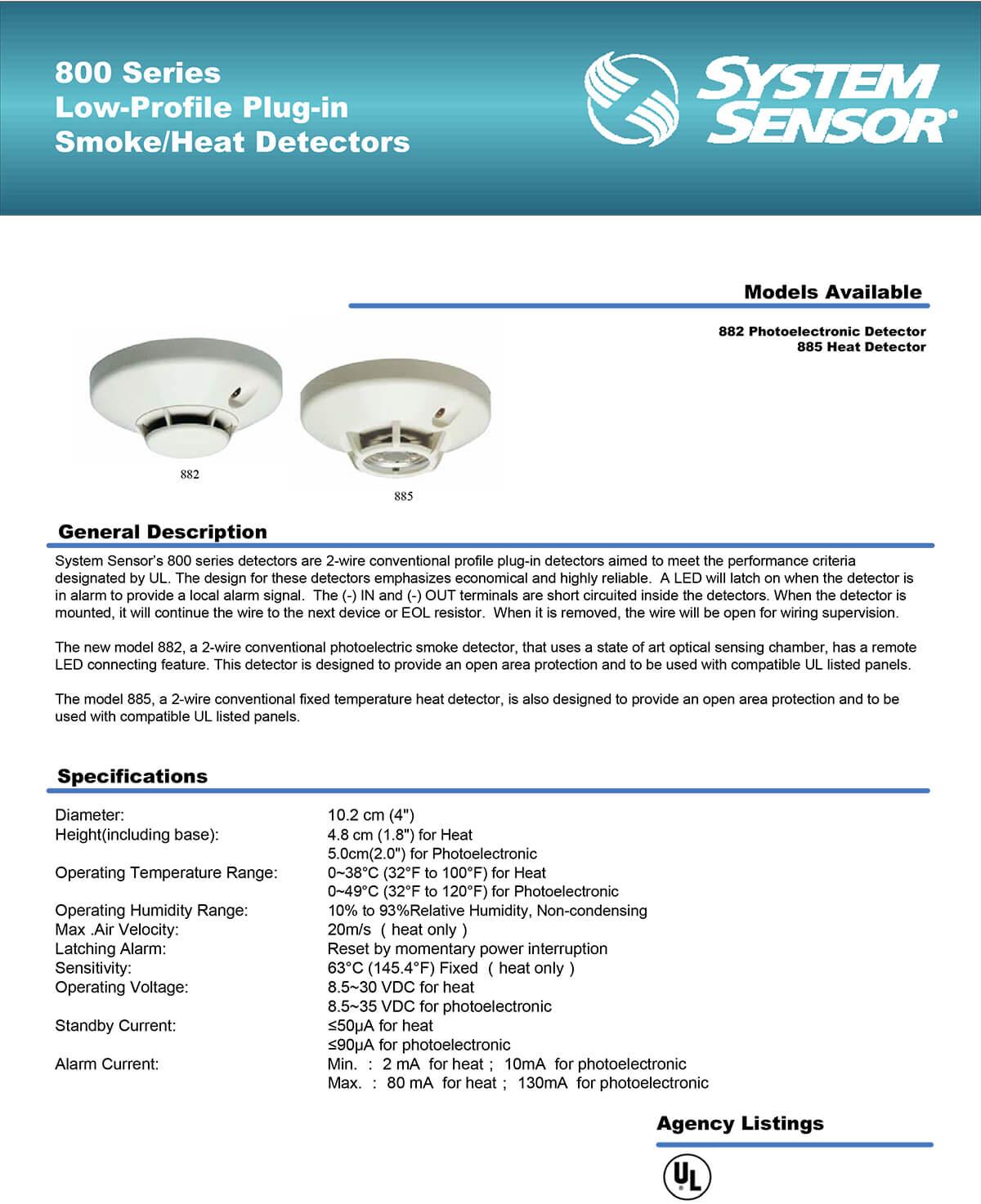 Low-Profile Plug-in Smoke/Heat Detector 800 Series