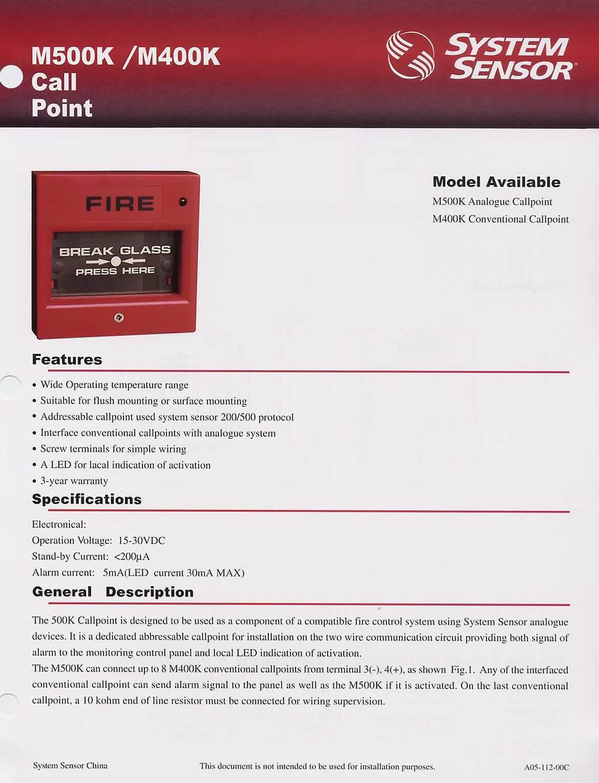 Break Glass Manual Call Point M400K