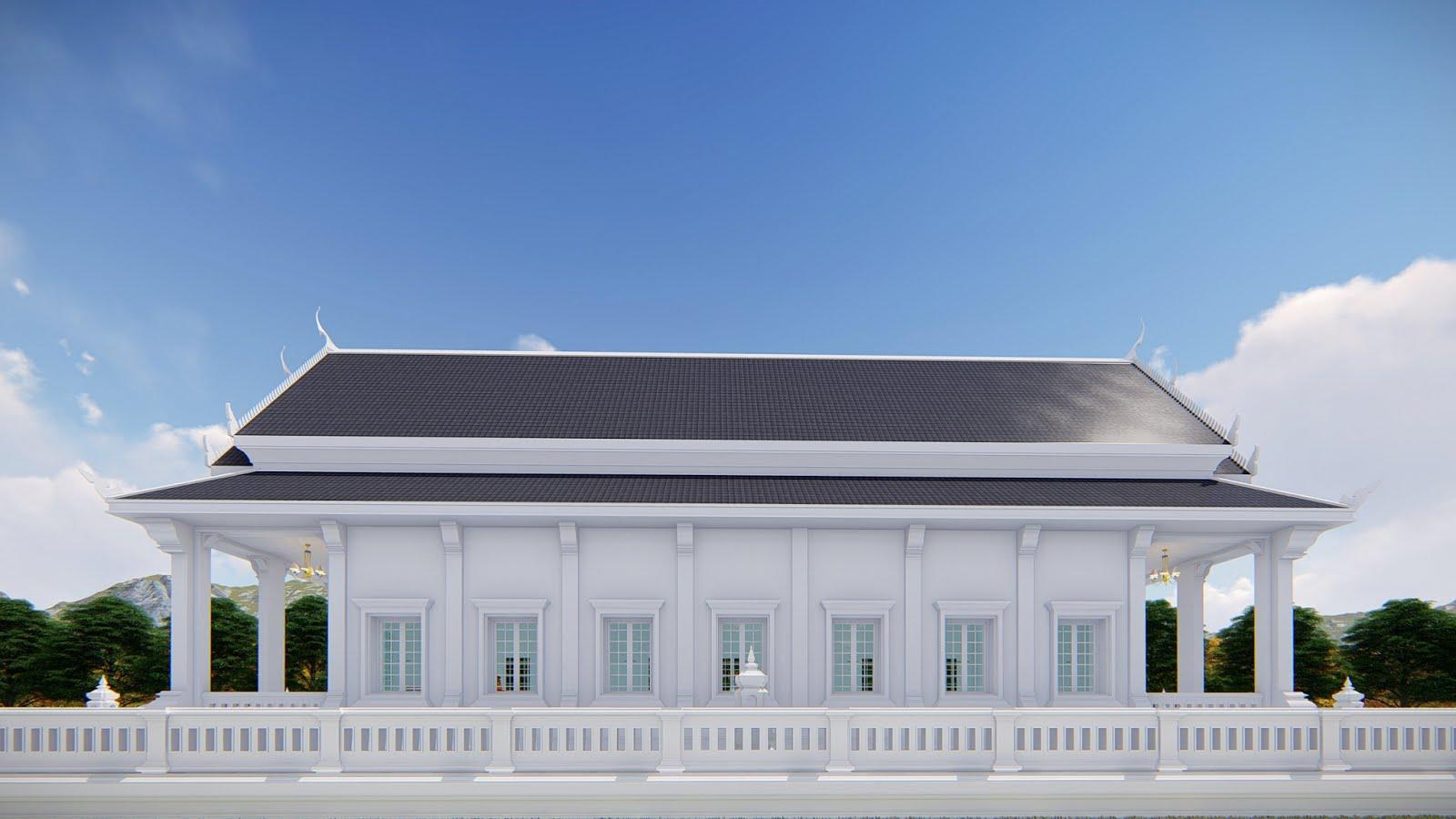 แบบอุโบสถ 7 หน้าต่างพร้อมลานประทักษิณ