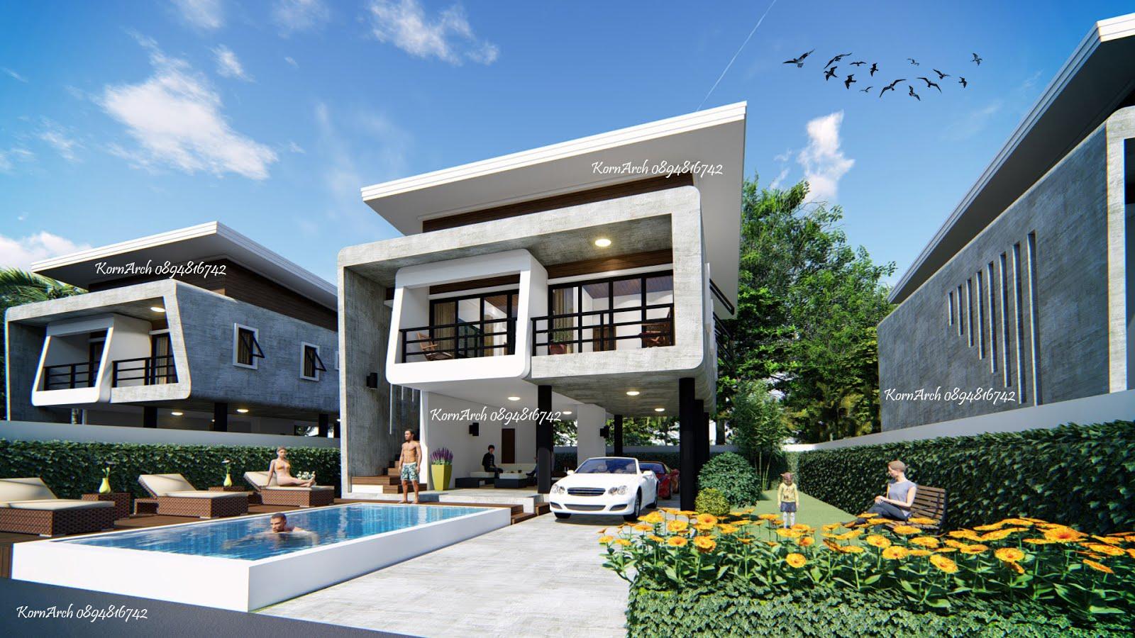 รับออกแบบบ้าน 2 ชั้น สไตล์โมเดิร์นลอฟท์