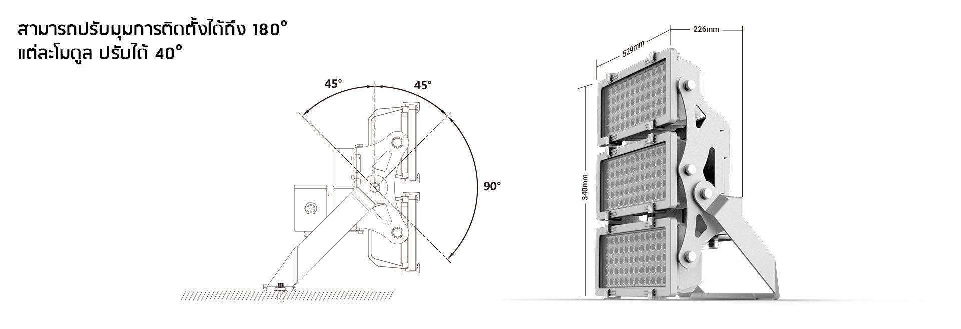โคมฟลัดไลท์ LED 400W รุ่น SL-FLMP X Series