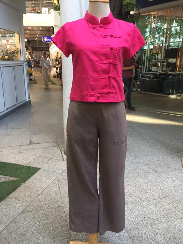 เสื้อกี่เพ้า สีชมพู