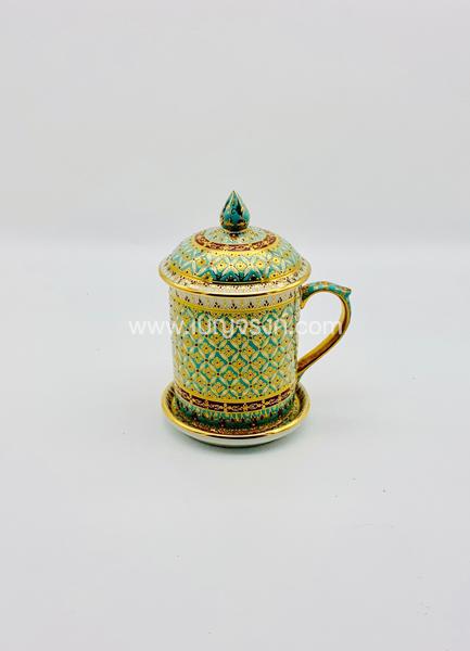 แก้วมัค ลายเต็มใบเบญจรงค์ สีเขียว