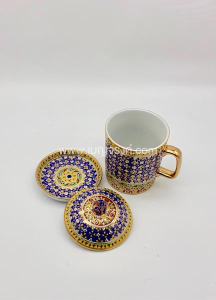 แก้วมัคเบญจรงค์ สีฟ้าลายไทย