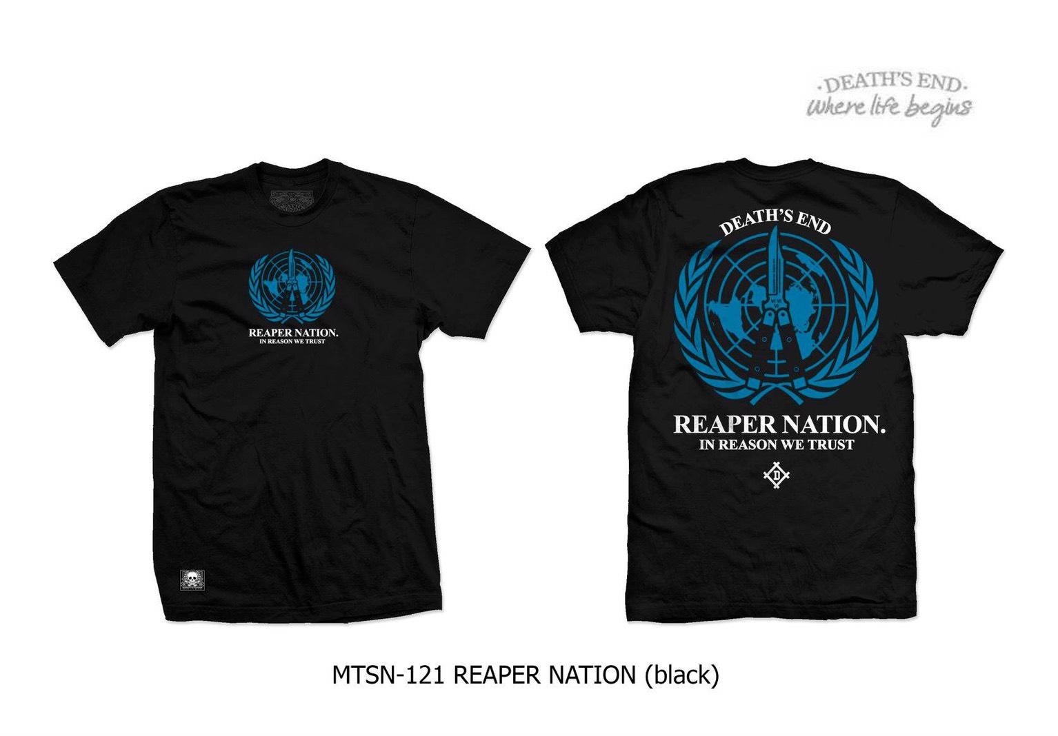 [M] เสื้อคอกลมสีดำ MTSN-121 REAPER NATION (Black)