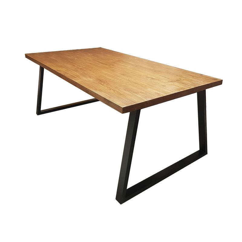 โต๊ะเหลี่ยมขาเหล็ก (เอียง) ท็อปไม้
