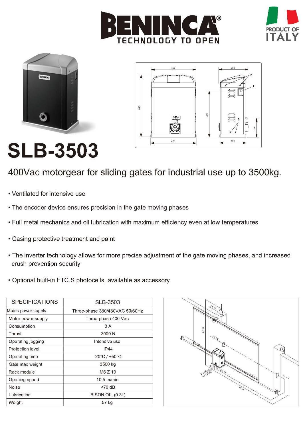 ประตูรีโมท บานเลื่อน ฺBeninca รุ่น SLB-3503