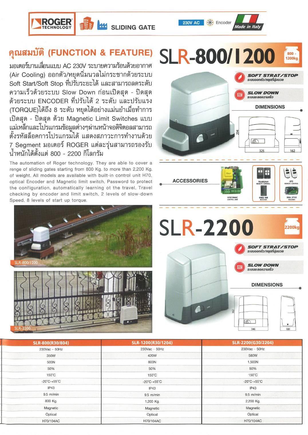 ประตูรีโมท บานเลื่อน Roger รุ่น SLR-800/1200