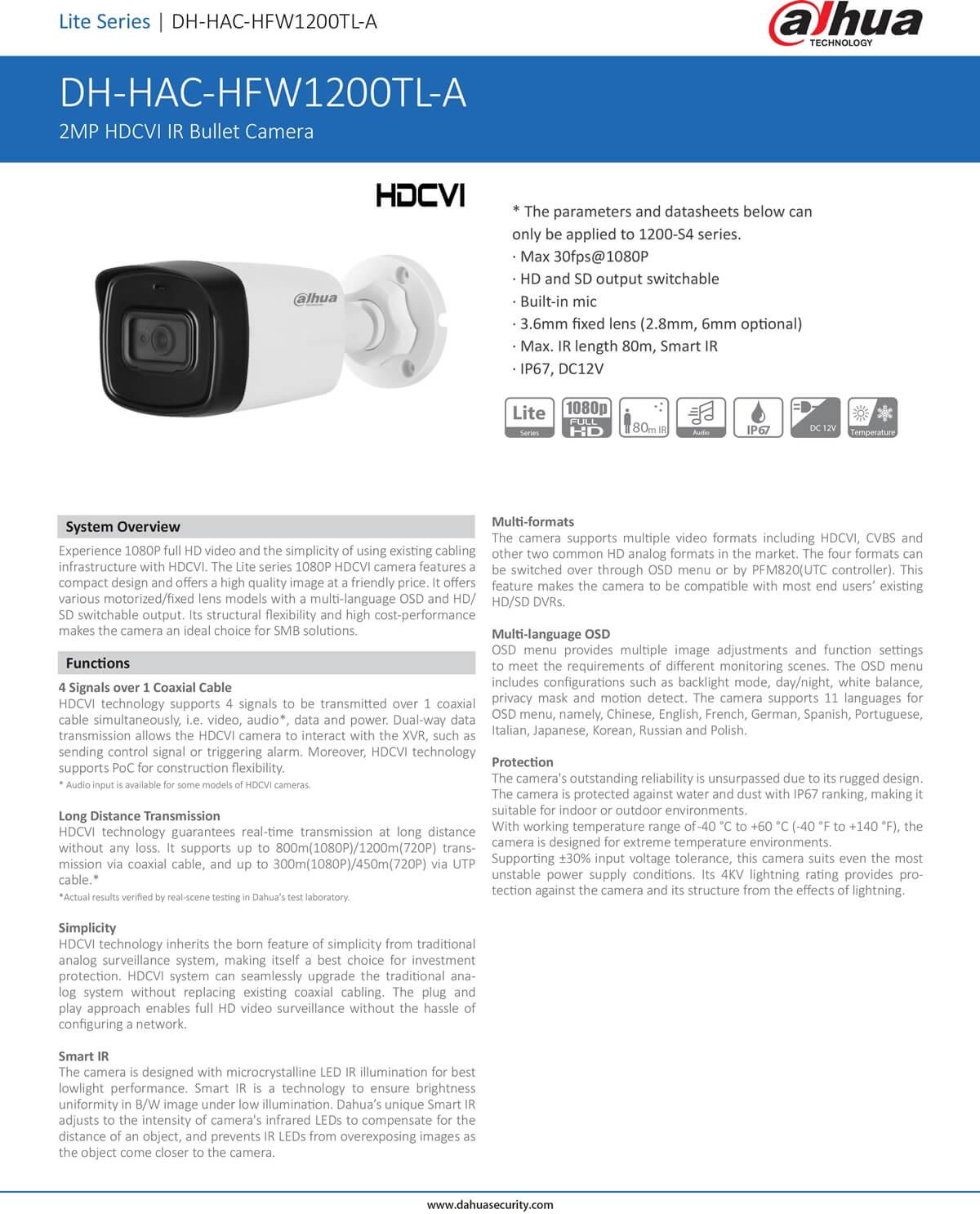 กล้องวงจรปิด CCTV DAHUA DH-HAC-HFW1200TL-A