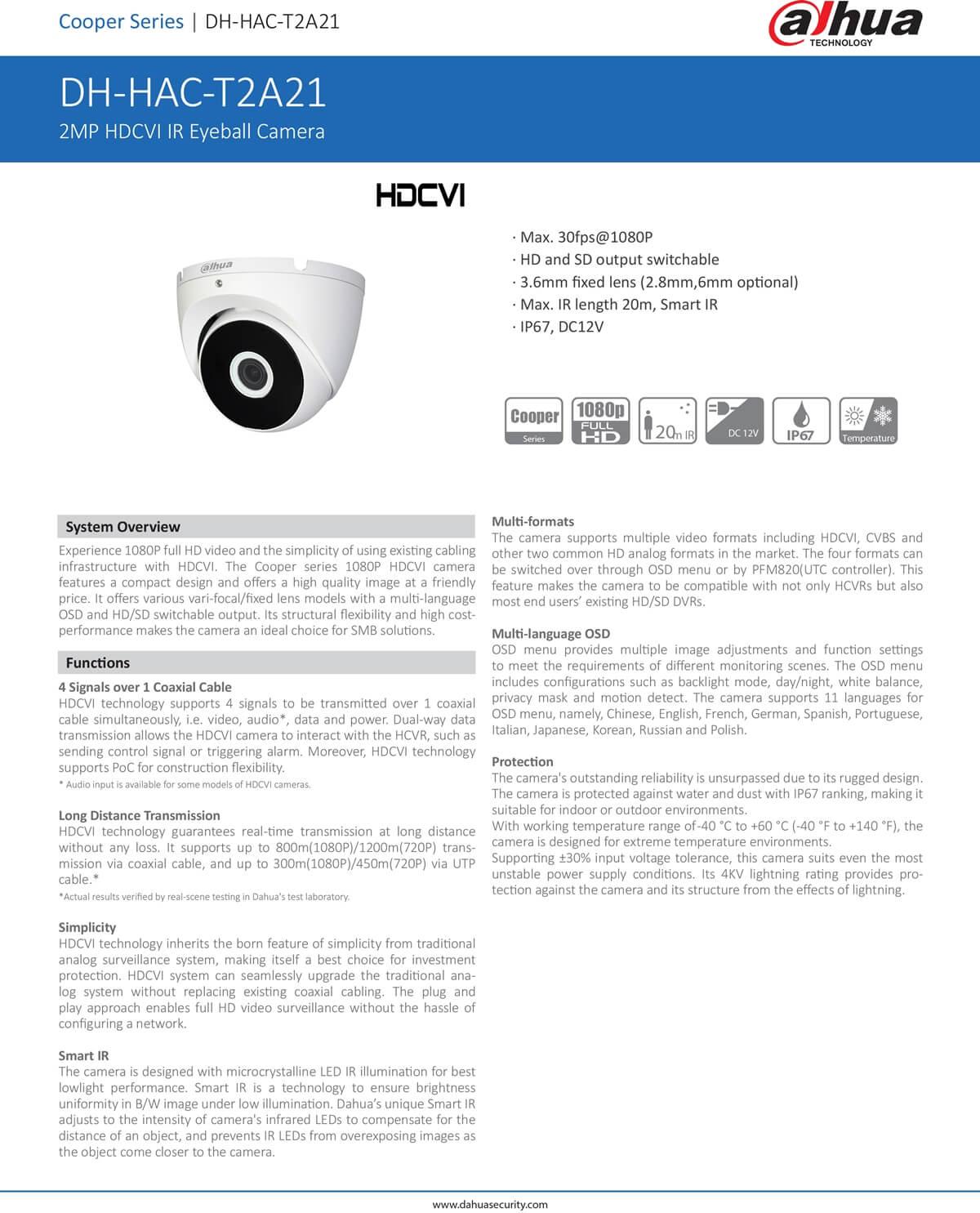 กล้องวงจรปิด CCTV DAHUA DH-HAC-HDW1200EM-A