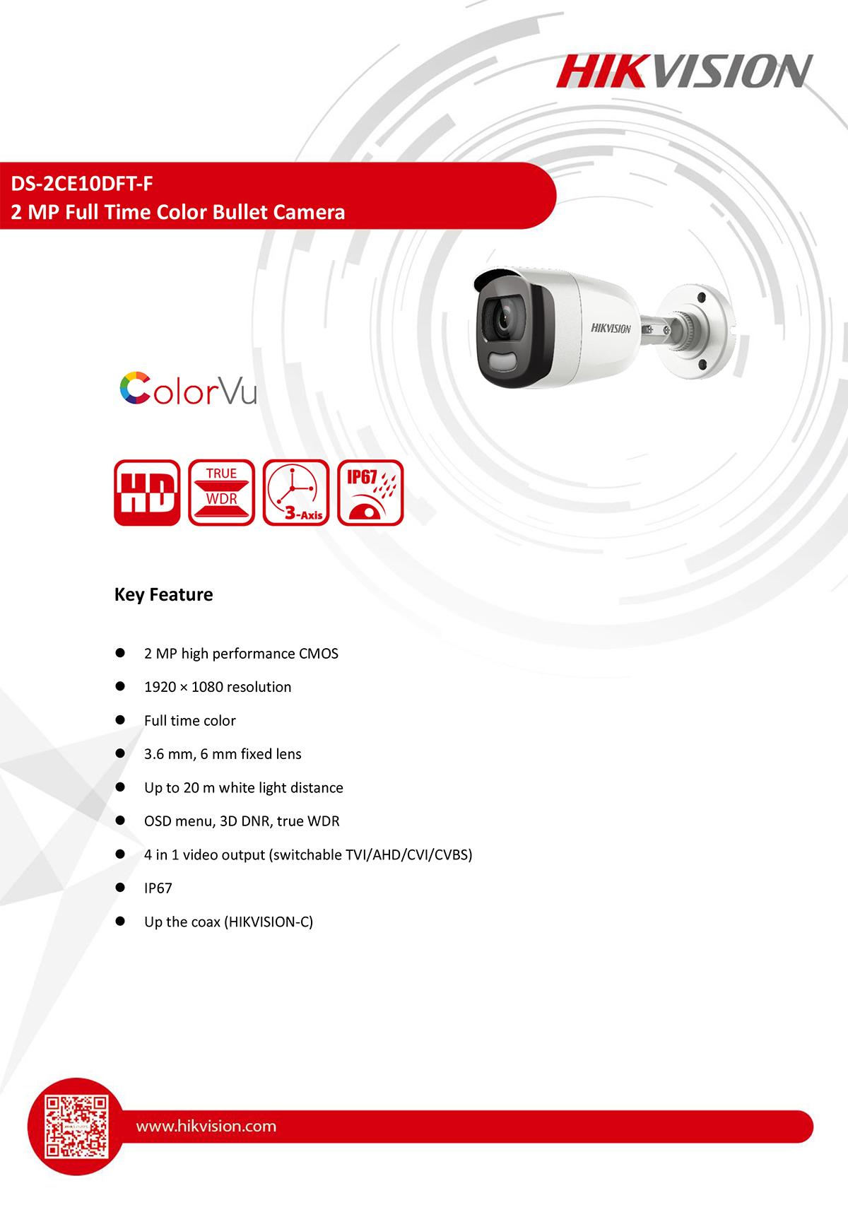 กล้องวงจรปิด CCTV HIKVISION DS-2CE10DFT-F
