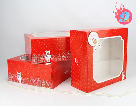 กล่องเค้ก 1 ปอนด์ สีแดงจุดขาว