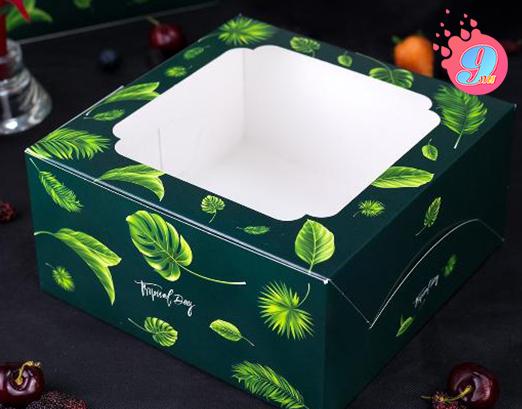 กล่องเค้ก 1 ปอนด์ พิมพ์ลายทรอปิคัล