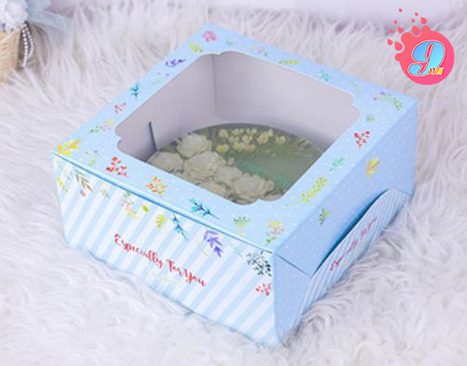กล่องเค้ก 1 ปอนด์ พิมพ์ลายบลอสซั่ม ฟ้า