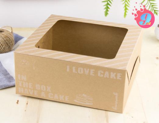 กล่องเค้ก 2 ปอนด์ กระดาษคราฟ ไอเลิฟเค้ก