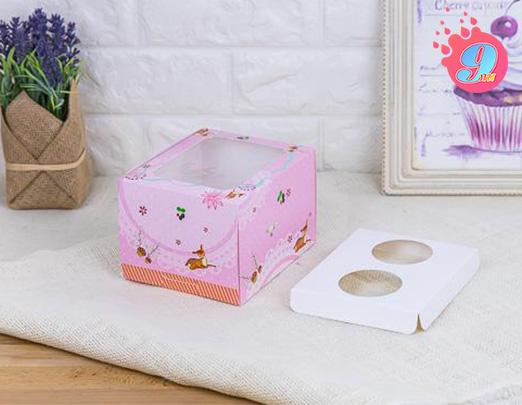 กล่องคัพเค้ก 2 ชิ้นทรงสูง ชมพู (กวาง) พร้อมฐาน