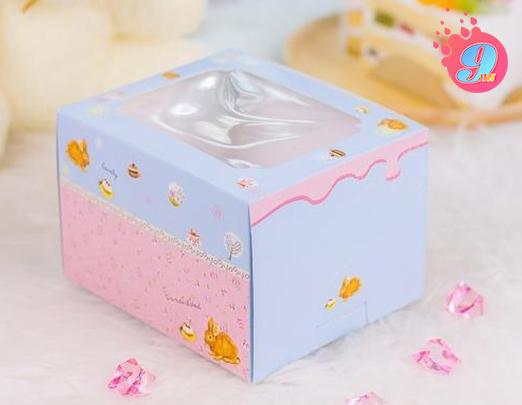 กล่องเค้ก 2 ชิ้นสูง สีฟ้า (กระต่าย)