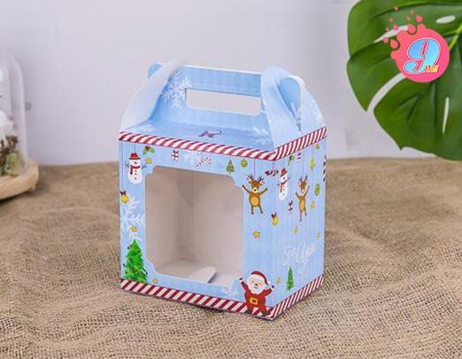 กล่องคุกกี้ 500 กรัม พิมพ์ลายคริสต์มาสฟ้า