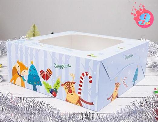 กล่องเค้ก 2 ปอนด์ ลายคริสต์มาส บลู