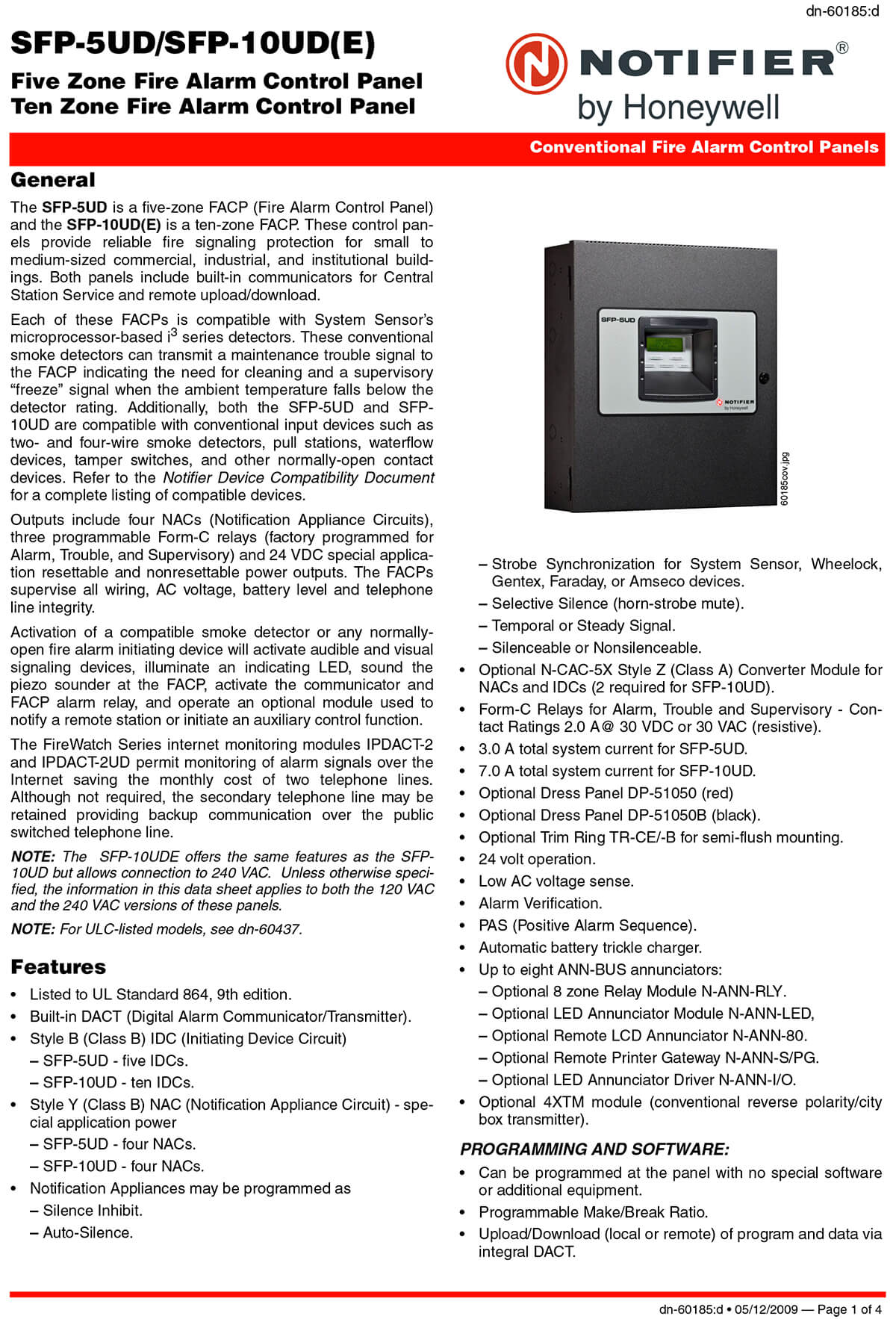 Ten Zone Fire Alarm Control Panel SFP-10UD (E)