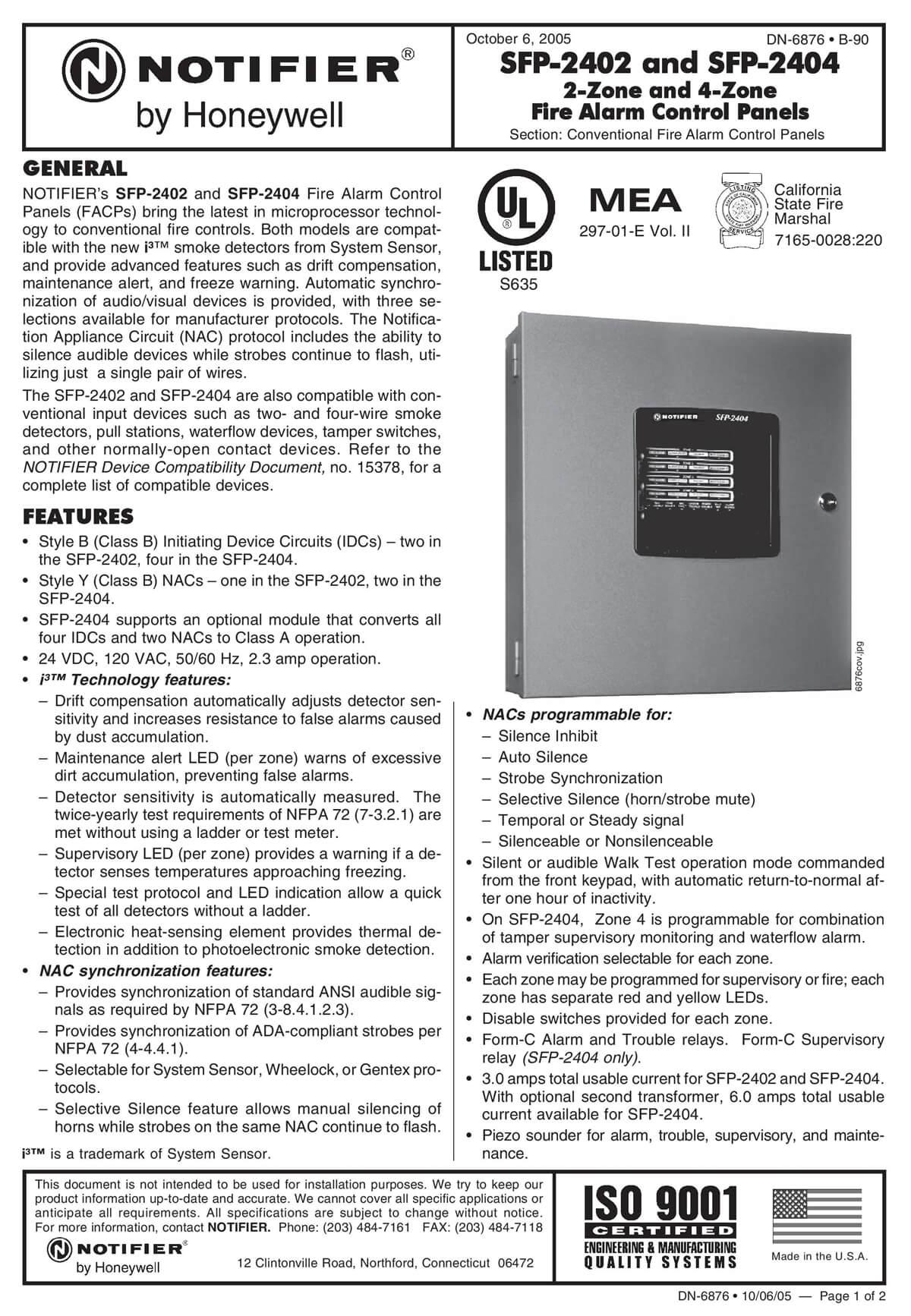 2-Zone Fire Alarm Control Panels SFP-2402