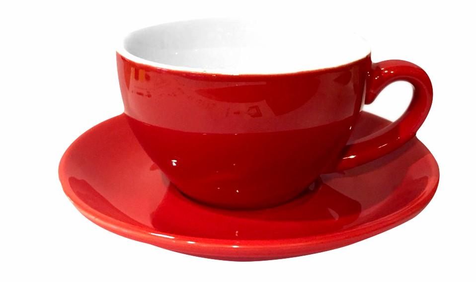 ชุดแก้วเซรามิค Capuccino Luciano 10 oz สีแดง