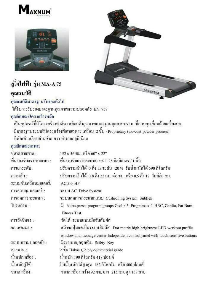ลู่วิ่งไฟฟ้า MAXNUM รุ่น MA-A75
